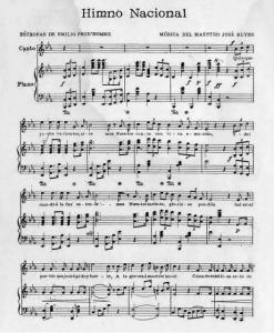 Partitura para Canto y piano del Himno Nacional de la República Dominicana