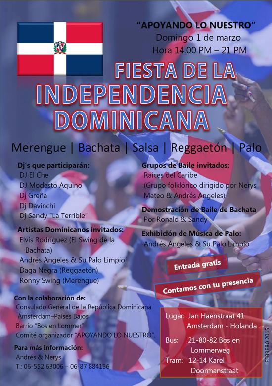 Cartel de la Fiesta de la Independencia Dominicana Apoyando lo nuestro 2015