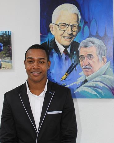 Ejemplo. Julio Reyes pinta la Restauración dominicana, en Ámsterdam, Holanda, lo que es un motivo de orgullo, pues el joven artista está poniendo en alto el nombre del país en otras tierras.